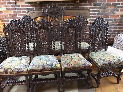 Set Of Seven Jacobean Victorian Edwardian Hand Carved Oak Dining Chairs Tapest