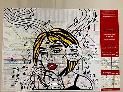 Subway Map Graffiti Street Art Lady Kla As Seen Taki Banksy seen Cope Modern Art