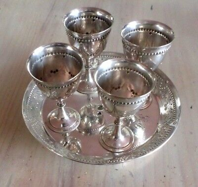Old Rare Victorian 4 Egg Cup On A Tray 15Cm Dia ~ Mappin & Webb No Handle