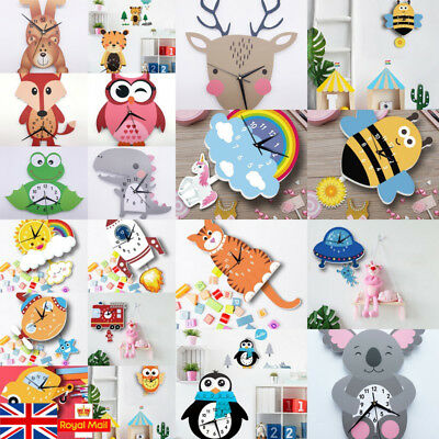 DIY Wall Clock Cartoon Pendulum Kids Children Bedroom Decor Gift With Stickers