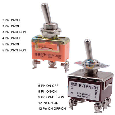 2/3/4/6/9/12 Pin On/Off ,On/On ,On/Off/On Toggle Switch 15A Copper Contact 12mm