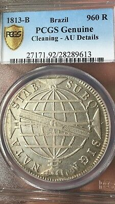 1813 B 960 Reis Brazil Crown Overstrike On 8 Reales Silver Study Coin Pcgs Au
