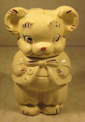Vintage 1940's Turnabout Double Face Ceramic Pottery Cookie Jar Bear Boy Girl