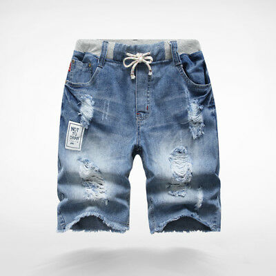 Boys Shorts Blue Denim Childrens Jeans Elastic Waist Kids Summer  Pants obesity