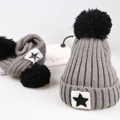 Kids Hats and Scarves Girls Boys Hat with Scarf Fleece Lining Warm Set Winter N8