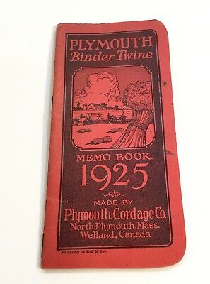 Vintage 1925 Farm Pocket Note/Memo Book, Red Cover, Plymouth Binder Twine