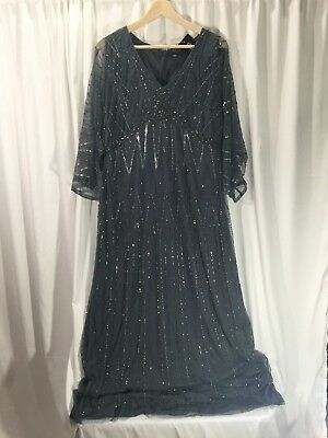 Women's Plus Size Gray and Silver Beaded Evening Dress
