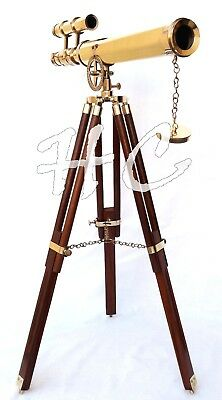 Nautical Marine Navy Brass Double Barrel Telescope With Wooden Tripod Stand