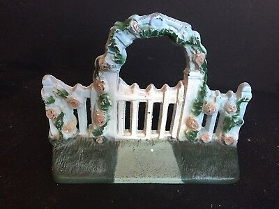 Vintage Cast Iron Doorstop Fence with Arbor and Flowers John Wright