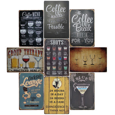 Bar Wall Art Pub Metal Tin Plate Retro Sign Coffee Menu Board Vintage Plaque