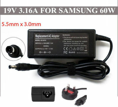3.16A Charger for Samsung Laptops 19V  UK POWER CABLE New AC Adapter Replacement