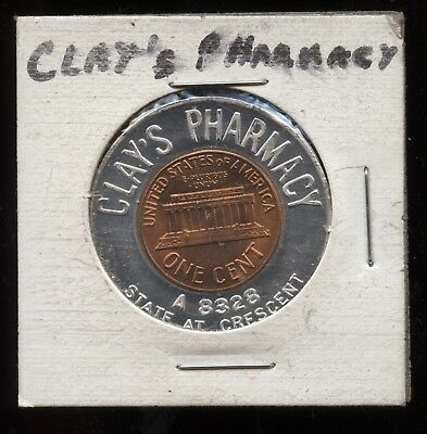 Vintage Clay's Pharmacy Drug Store Token 1960 Penny Never go Broke