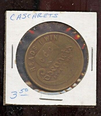 Vintage Pharmacy Drug Store Token Cascarets Best in the Bowels Flip Coin CCC
