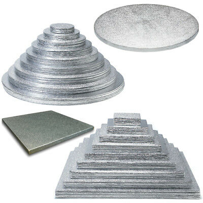 Cake Boards Silver Drum Cut Edge Card Foiled Decorating Strong Thick Baking Foil