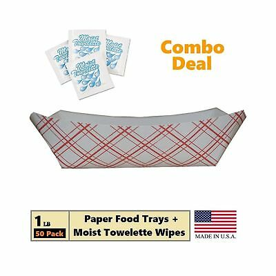 Paper Food Tray, 1 lb Red Plaid on White Nacho, Fries, Hot Corn Dogs, Take Ou...