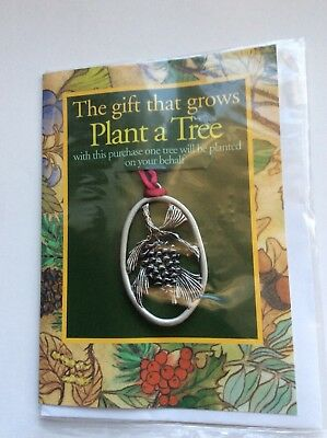 """Vintage Seagull Pewter Christmas Ornament,  """"Plant A Tree""""  Pine Cone"""