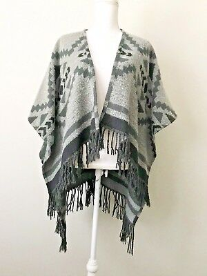 Hollister Mexican Blanket Poncho Cape Southwest Gray Womens XS S Fall F1443