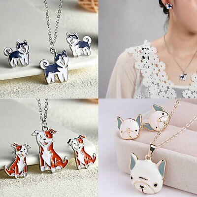 Fashion Lovely Animal Pet Dog Necklace Earrings Jewelry Set Women Men Party Gift