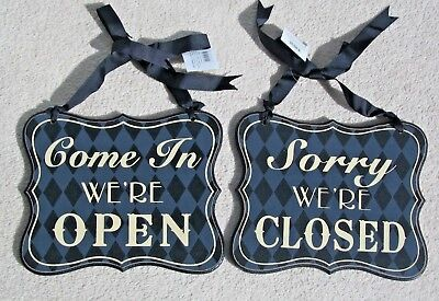 Come In We're Open Sorry We're Closed Reversible Black & Cream Cafe Shop Sign