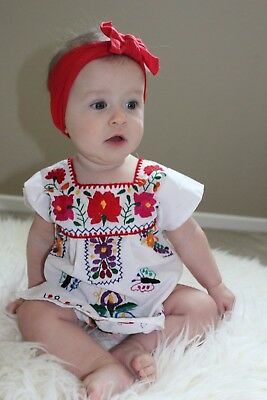 Mexican Girl Toddler Dress Many Color /w Embroidery on front of Dress sz 3m-5T