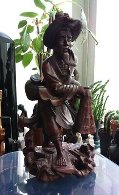 Stunning Antique Chinese Carved Wood Fisherman.