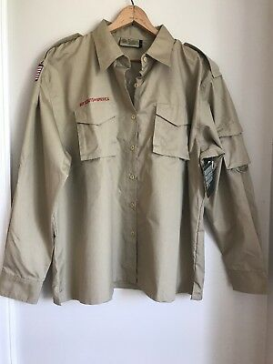 Brand new with tags Boy Scouts of America ladies Tan poplin shirt size 42/44 Xl