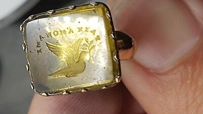 """ANTIQUE 19TH CENTURY FRENCH GOLD INTAGLIO SEAL""""Peace My Friend"""""""