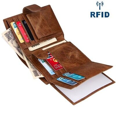 Men's Card Coin Wallet RFID Trifold Button Clutch Genuine Retro Cowhide Leather