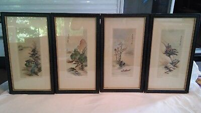 Vintage Set of the 4 Seasons by Ling-Fu Yang Matted and Framed Ready to Hang!!