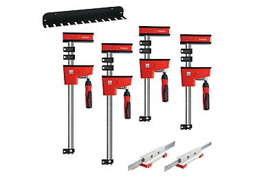 BESSEY KREX2440 REVO Parallel Jaw Clamp Set + WALL CLAMP RACK