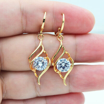 18K Yellow Gold Filled Women Round Clear Mystical Topaz Gems Earrings Jewelry