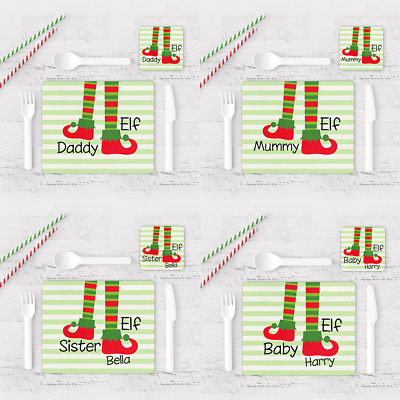 Personalised Christmas Placemat & Coaster Elf Family Xmas Dinner Seating Plan