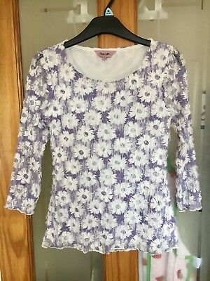 Phase Eight Women's White and Purple Waffle Lace Flower Top Size 8