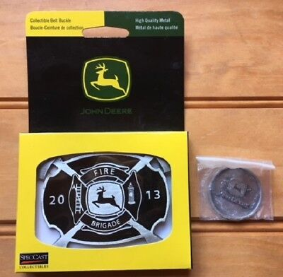 JOHN DEERE 2013 Belt Buckle - Fire Brigade Waterloo, IA and Challenge Coin
