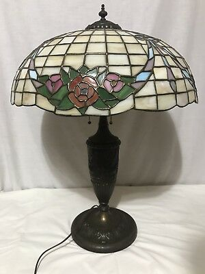 Antique Chicago Mosaic Leaded Stained Glass Lamp Shade & Base Garland Wreath 28""