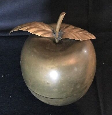 Vintage Antique Brass Apple Trinket Box Container Teacher School