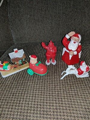 vintage plastic christmas decorations santa ornaments and toys