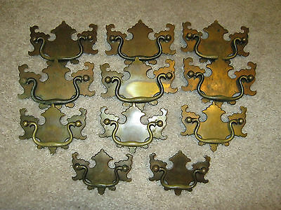 Lot of Vintage Antique Brass Chippendale Style Drawer Drop Bail Pull Handles