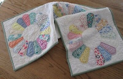 Vintage Cottage Dresden Plate Table Quilt, RUNNER FARMHOUSE TABLE TOPPER 16 X 38