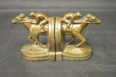 Vintage 1950 B.M. Pro Race Horse Jockey Bronze, Brass, Copper Finish Bookends!!