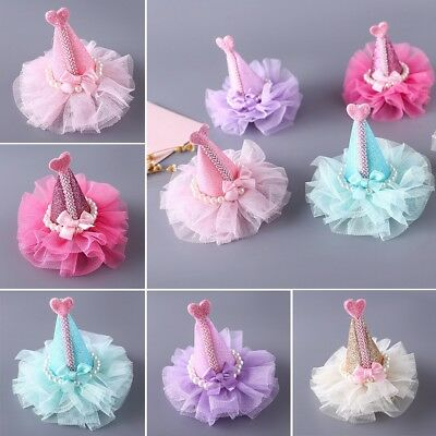 Pet Dog Hair Bow Tie Princess Hat Lace Hairpin Bowknot Hair Clips Pet Grooming