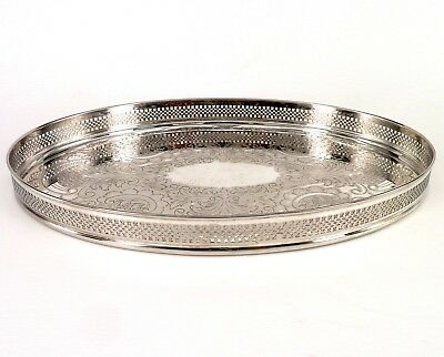 Silver Tray Oval Art Nouveau Form With Pierced Border