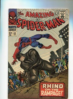 Amazing Spider-Man  #43  Ow/wh Pages 8.0  (1966)  Higher Grade Rhino Battle