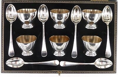 VICTORIAN SILVER EGG CUP & SPOON SET FRANCIS HOWARD c1870 - 1874