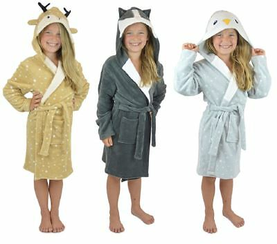 Childrens Kids Soft Fleece Novelty Animal Dressing Gown Wrap Robe with Hood