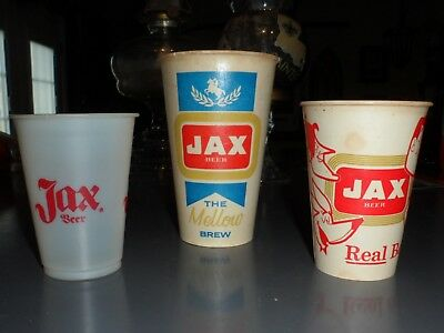 JAX Beer~3) Diff. Vintage Cups, 2) Wax & 1) Plastic-Diff. Sizes