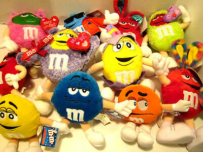 Lot of 11 M&M Plush Collectibles All are New with Tags....see photos