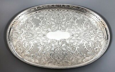 Vintage silver plate on copper chased gallery oval large serving tray floral