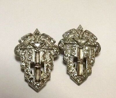 "Pair of Antique Art Deco Rhinestone Dress or Shoe Clips, Pot Metal, 1"" Long"