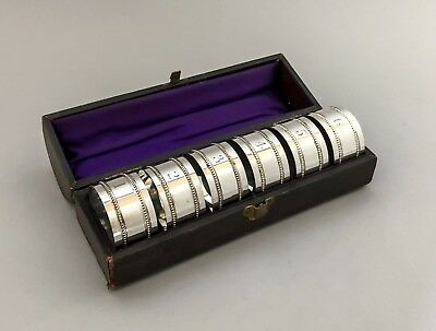 Antique boxed set 6 silver plate napkin ring holders leather case numbered